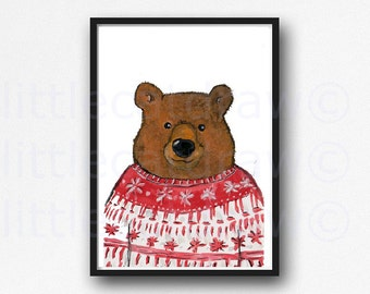 Winter Sweater Bear Christmas Bear Watercolor Painting Woodland Bear Art Print Unframed