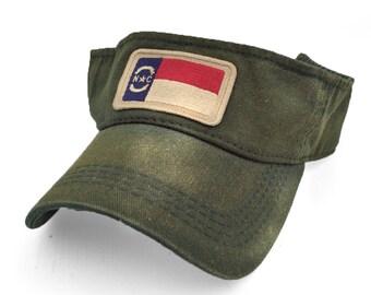North Carolina Flag Patch Visor, Green