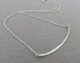 Curved Bar Necklace, bar necklace, sterling silver, hammered bar necklace, minimalist, wide bar, hammered bar, long bar, marcia, marciah,