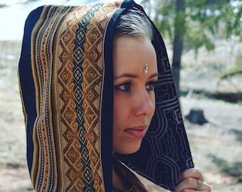 Black Fox New Shipibo Reversible Festival Hood, Aztec BlackSheepMarket Sacred Geometry Hood, Fall Psychedelic Hood