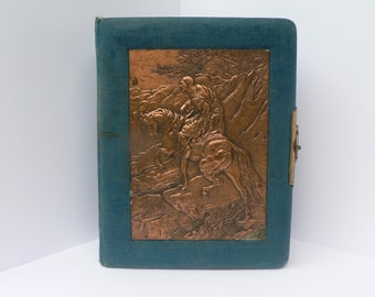 Vintage Blue Velvet Photo Album with metal embossed cover of a Soldier(?) on his horse