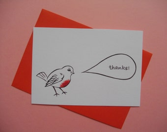 Thank-you note card, illustration print postcard 4 x 6 gift card