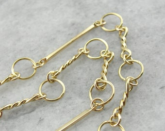 Equestrian Lines: Yellow Gold, Link Chain Necklace  AHRQEP-D