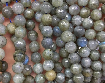 natural labradorite beads, green labradorite beads, round faceted beads, loose gemstone beads supply, 4mm 6mm 8mm 10mm 15'' strand