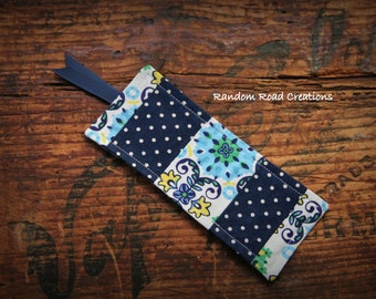 Fabric Bookmark, Navy, Yellow, Green, Blue