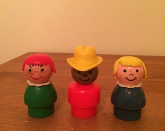 Vintage Fisher Price People 2 Girls and 1 Cowboy with Hat Set of 3