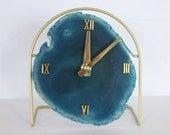 SoLo Agate Clock | Agate Clock/Painted Gold Base | Designer Clock | Modern Clock | Minimalist Accent | Unique Clock | Wedding Registry