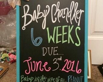 Weekly pregnancy announcement chalkboard DIY