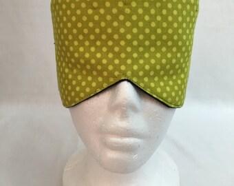 Citron Polka Dot Cotton Sleep Maskand Case Set, Eye Mask, Travel Mask