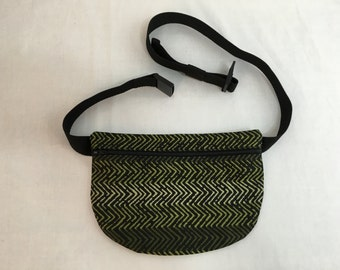 Green and Black Ethnic Design Waist Bag, Fanny Pack, Hip Pouch, Festival Bag