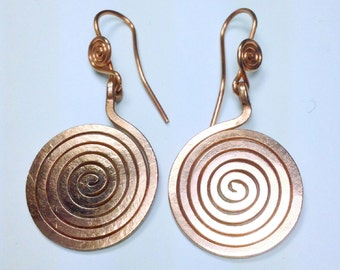 The spiral earrings copper coil