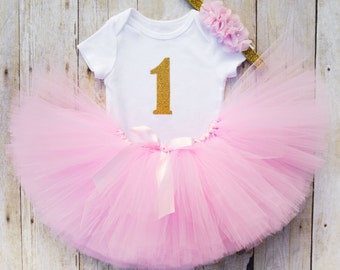 1st Birthday Girl Tutu Outfit...Pink and Gold 1st Birthday Outfit...First Birthday Girl Outfit...Pink Tutu Outfit...Baby Girl 1st Birthday