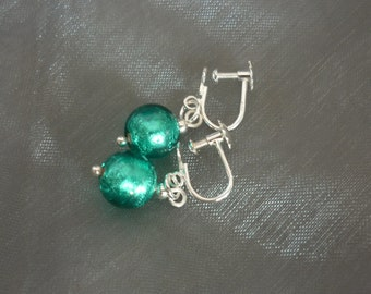 Turquoise Murano Glass Earrings - Screw backed for non pierced ears