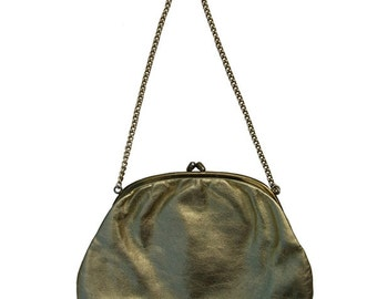 Gold colored pouch with chain handle