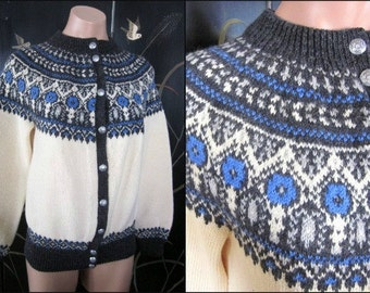 50s NORDIC Sweater / fits S-M / Hand Knit Nordic Sweater / Vintage Ski Sweater / Scandinavian Ski Sweater / vintage Nordic Sweater