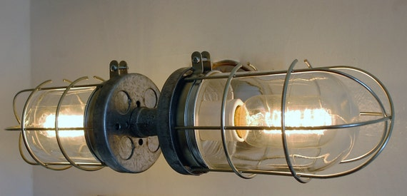 Industrial wall sconce bathroom light double cage wall light