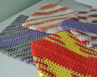Diagonal Crochet Potholder Pattern - PDF DOWNLOAD ONLY; Double Thick Potholder Pattern