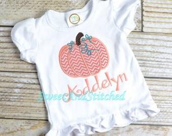 Girl Pumpkin Shirt pumpkin tee, chevron pumpkin shirt, girl halloween shirt - embroidered and personalized - girly pumpkin shirt