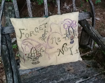 Vintage Forget-Me-Not Embroidered Pillow