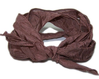 100% Silk Ribbon Habotai 0,8 inches - Hand Dyed -BROWN