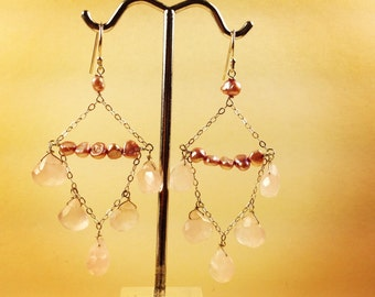 Rose quartz Pink pearl Chandelier earrings