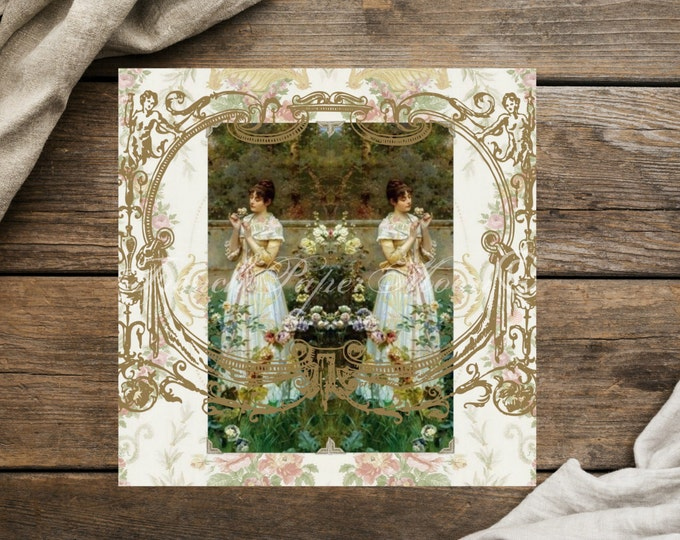 Shabby Chic Jane Austen inspired Digital Print, Vintage Roses, Victorian Women, Photographic Paper, Large Size