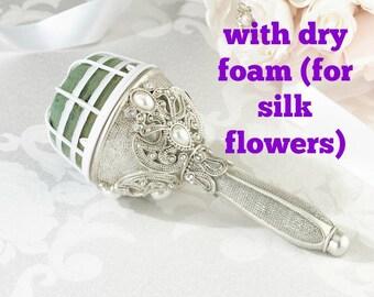 DRY FOAM Jeweled Bouquet Holder Silver Pearl Wedding Diy Brooch