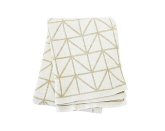 """Cotton Knitted Blanket - Luxe Metallic Gold and Ivory Geometric - """"Bijoux"""" 80% Recycled Cotton Fibers"""