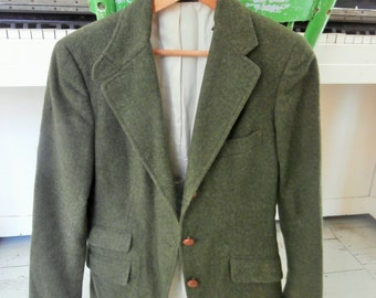 Vintage, Loden Green Blazer, Wool, Suit Jacket, Women's Extra Small, Dunhams of Maine