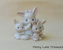 Vintage Precious Moments Bunnies ~ Some Bunny's Sleeping ~ Enesco ~ 1990 ~ Tiny Bunnies ~ Bisque ~ Animal Collections ~ Babies Room Decor