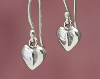 Sterling Silver Heart Earrings – Sterling Silver Earrings – Sterling Earrings Love Jewelry – Sterling Heart Earrings – Silver Heart Jewelry
