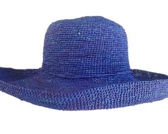 XXL Raffia Women's Madagascar Hat - Blue Crochet