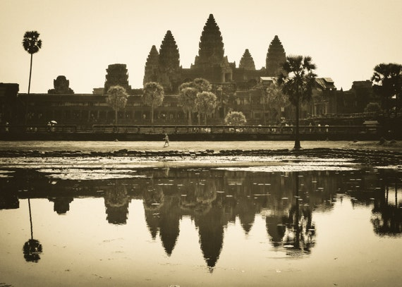 Sepia Photo Fine Art Print Home Decor of Angkor Wat in Cambodia with Reflection. Wall Decor of Ancient Temple. Gift for SE Asia Lovers.