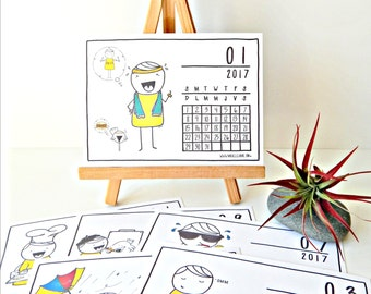 50% OFF - Calendar - 2017 calendar - 2017 desk calendar - 2017 wall calendar - gift calendar - 5x7 calendar - illustrated calendar