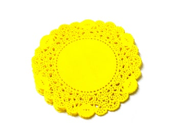 Doily Paper Round Doilies Doily Lace Cardmaking Decoration 3.5 inch Yellow