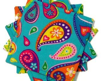 Paisley Coasters: Retro Modern Cloth Coasters, Boho Drink Mats, Hippie Chic  Table Decor