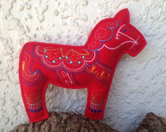 Personalized Swedish Dala Horse Stuffed Decoration/Pillow/Toy