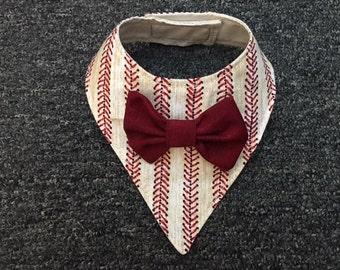 Dog Bandana, Baseball Stripe, with Matching Bow Tie