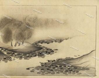 Antique Original Meiji period Japanese Wood Block Print  - Gorgeous  Landescape - Takejiro Ueda-Ringacho
