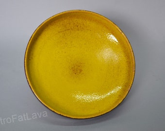 West German pottery bowl by Scheurich 340-26 yellow / brown