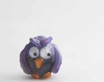 Lampwork Glass Owl Bead - Focal Animal Bird