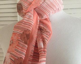 "Vintage Peach Headscarf, 46"" long"