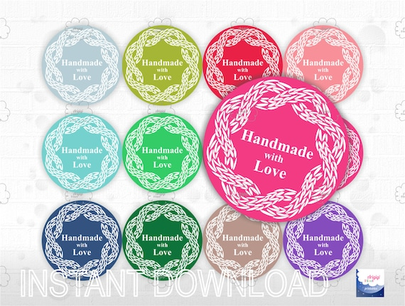 printable stickers for handmade items -  round labels 2.5 inch - cable knit motif - Handmade with Love - for knitted item