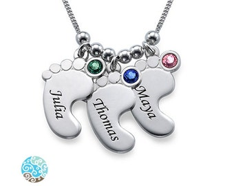 Mom Jewelry - Baby Feet Necklace in Sterling Silver - Personalized