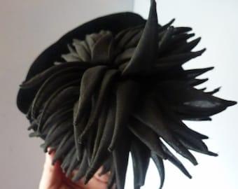 Vintage Designer Couture: 1950s / 1960s CHRISTIAN DIOR Black Velvet Pillbox Hat with Large Black Rear Floral Tassel