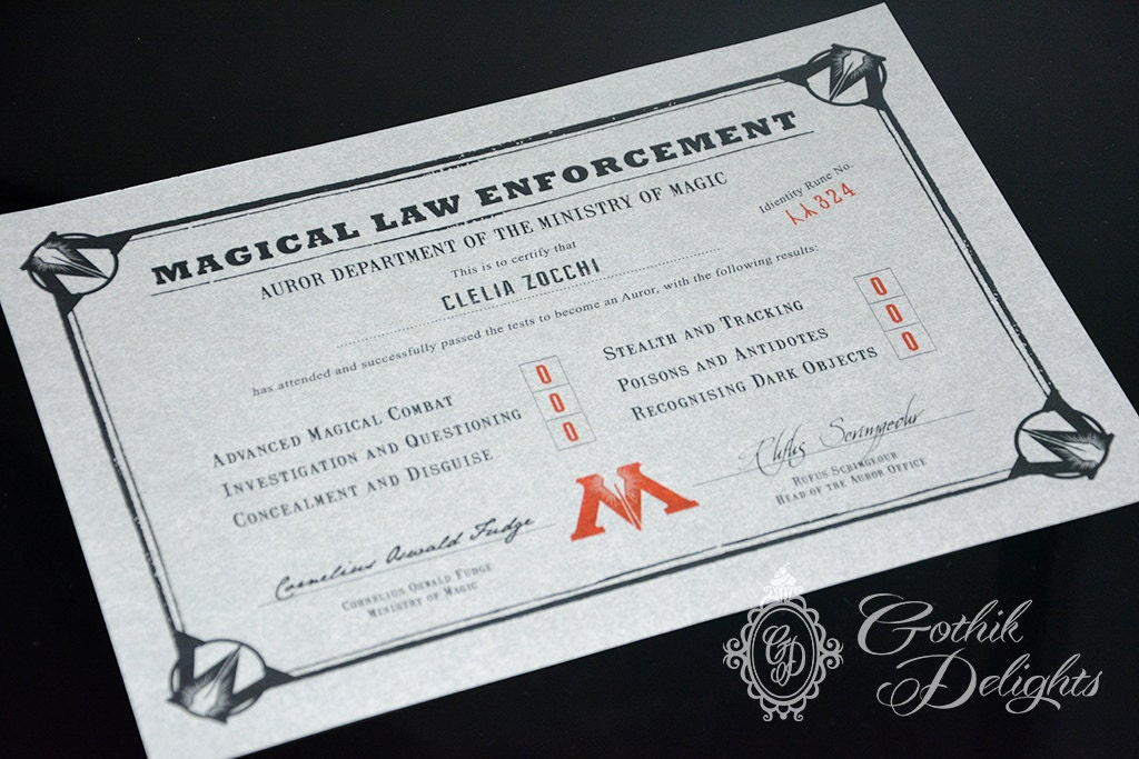 Harry Potter Auror Certificate customizable with name code