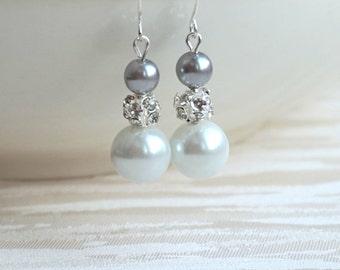 Light grey earrings, Rhinestone Earrings, White Earrings, Bridesmaid Earrings, Bridesmaid Gift, Grey Wedding Jewelry, Grey Bridesmaid Gift