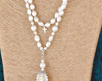 Fresh Water Pearl Necklace with Detachable Tassel, Wear long or doubled, Real Fresh Water Pearls