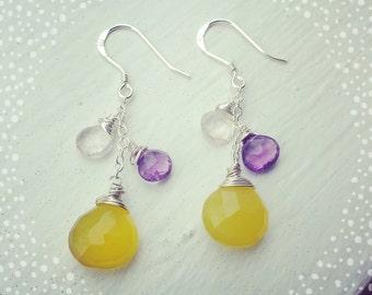 Yellow Earrings, Gemstone Earrings, Amethyst Earrings
