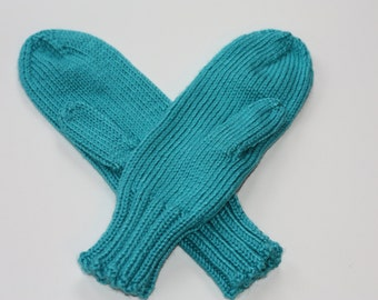 Knit Mittens - Blue Adult Mittens - Blue Mint Mittens for Adults - Mittens for Women - Womens Mittens - Winter Gloves - Gifts for Her